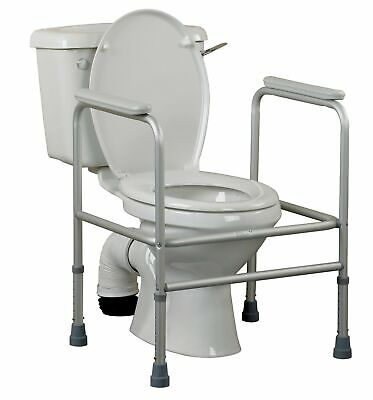 Homecraft Adjustable Aluminium Toilet Surround Frame, Adjustable Rail and Gra...
