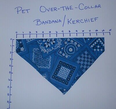 Pet/Dog Over-the-Collar bandana kerchief blue hand made