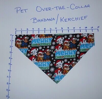 Pet/Dog Over-the-Collar bandana kerchief Paw Patrol Merry Christmas hand made
