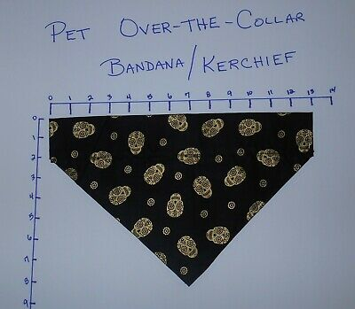 Pet/Dog Over-the-Collar bandana kerchief black with gold skull hand made
