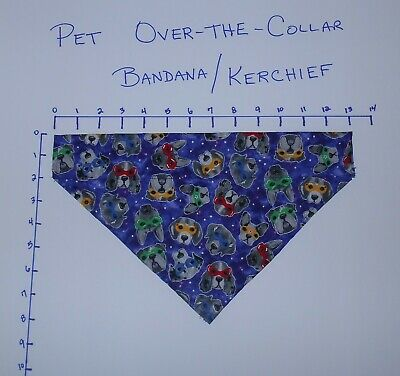 Pet/Dog Over-the-Collar bandana kerchief dogs with glasses/goggles hand made