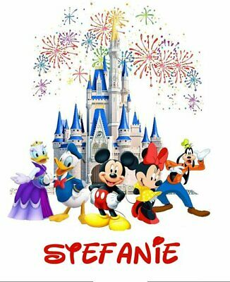 Disney Characters Mickey Mouse Minnie Castle Personalized Shirt Iron On Transfer