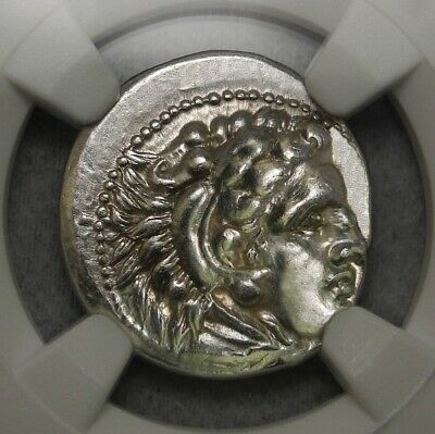 NGC AU.Alexander The Great Drachma.Zeus, Hercules Spectacular ancient Greek coin