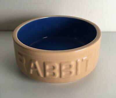 "MASON CASH ""RABBIT"" FOOD BOWL China Ceramic Guinea Pig Rat Chinchilla Blue Brown"