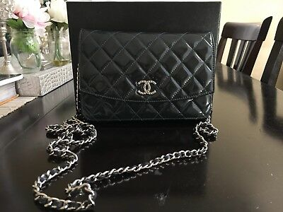 cf97ee2628f96a Authentic CHANEL Brilliant Navy Patent Leather Wallet on Chain WOC