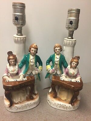 Pair of Vintage Ceramic Porcelain Hand-Painted Victorian Figurine Piano Lamps