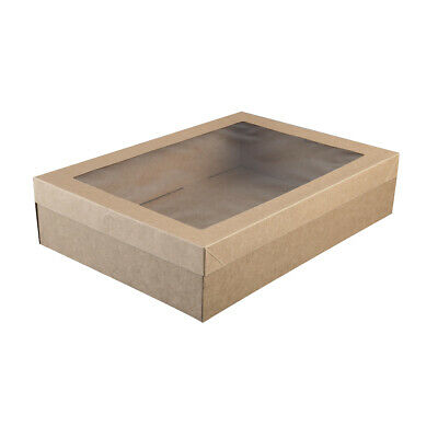 100x Disposable Cardboard Catering Box w Clear Window Kraft Brown 359x252x80mm