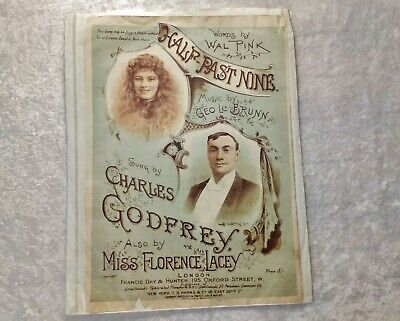 Half Past Nine-Victorian Poster Advert for Sheet Music (?) Wal Pink/Geo Le Brunn