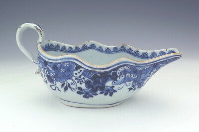 Antique Chinese Oriental Porcelain - Hand Painted Blue & White Gravy Boat