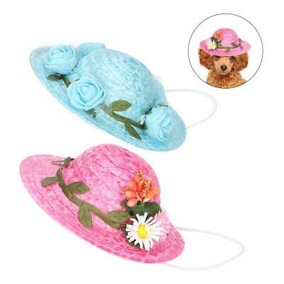 Pet Dog Cat Puppy Summer Hat Decorative Hat with Flower Photography Props