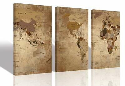 Canvas World Map Wall Art 3 Panels Framed Old Painting, Vintage Wall Map Of The
