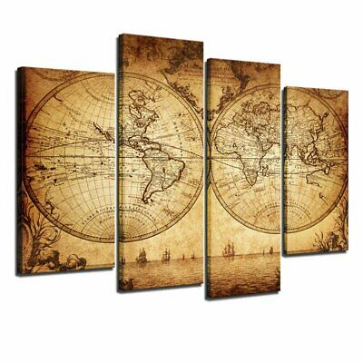 Sechars - Canvas Wall Art Panels Vintage World Map Painting Framed - 4 Pieces Ca