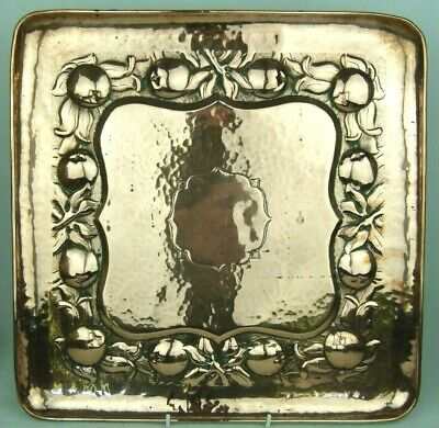 A Large Square Arts & Crafts Newlyn School Copper Tray-Cornish Medlar Decoration