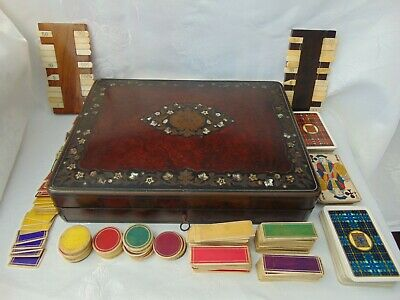 Antique French Burlwood Bezique Game Box & Contents Mother Of Pearl Inlay + Key