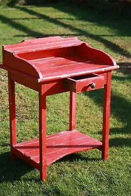 Antique Vintage Painted Desk Table French Original Red