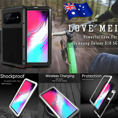 For Samsung Galaxy S10 5G A70 LOVE MEI Metal Shockproof Case Full Glass Cover