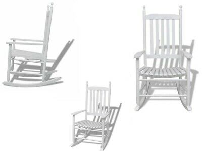 """Garden Wooden Rocking Chair White with Curved Seat 23.8"""""""" x 32.3"""""""" x 45"""""""""""