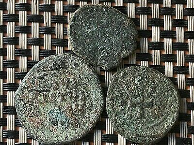 Lot Of 3 Ancient Byzantine Medieval Bronze Coins Ae Follis Constaninople Mint.