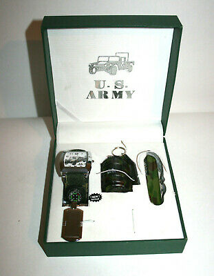 U.S. Army Military Gift Set w/ Box Watch Compass Grenade Lighter Pocket Knife