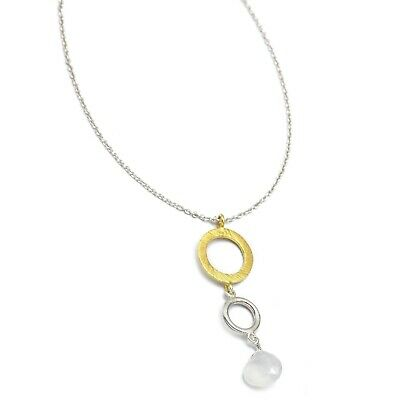 Tabiz Shape WHITE CHALCEDONY Gemstone Yellow Gold & Silver Plated Necklaces