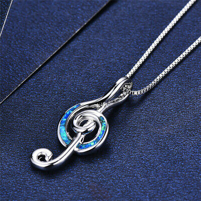 Silver Plated blue Imitation Opal CZ musical note Necklace Pendant For Women