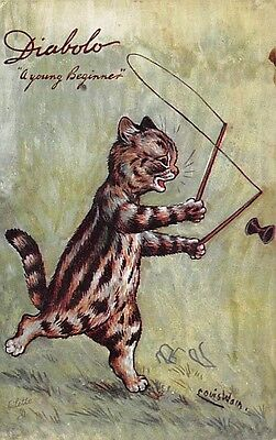 CAT PLAYING WITH A DIABOLO TOY, LOUIS WAIN IMAGE, TUCK PUB ~ c. 1904-14