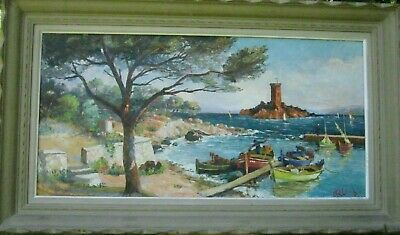 Large Impressionist Maritime Boats Oil Painting JOSPEPH COLOMBINI Listed Framed