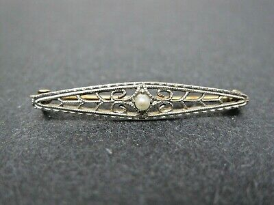 Antique Art Deco 14k Solid Yellow/White Gold Bar Pin Seed Pearl Filigree Brooch