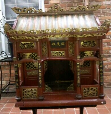 Chinese Offering Altar Shrine Temple Carved Wood Dragon Red Gold Lacquer