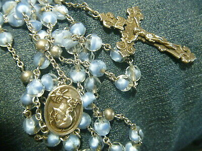 Fine Jewelry Vintage Sterling Clear Faceted Glass Beads Rosary Necklace 50% OFF Precious Metal Without Stones