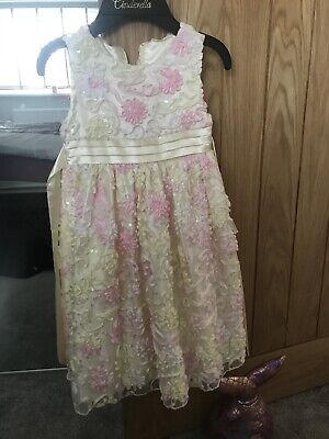 Girls Party Occasion Cinderella Dress Age 5 Lemon Pink Lace Skirt