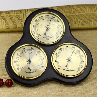 Wooden Thermometer, Hygrometer, Barometer Traditional Weather Station