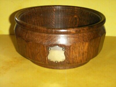 Vintage Dark  Oak Fruit Bowl - Blank Cartouche - Circular With 16 Flat Surfaces