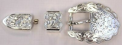 "3/4"" Engraved Western Belt Buckle Set Bright Silver Plate CB8 S5400 NEW"