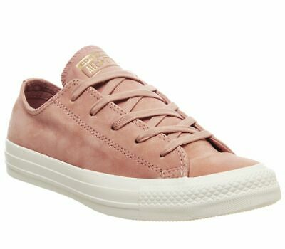 WOMENS CONVERSE ALLSTAR Low Leather Trainers Rose Gold Egret Minimal Exclusive T