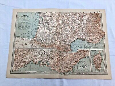 """1903 large colour fold out map titled """" france - southern part  """""""