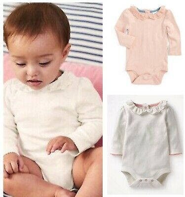 Mini Baby Boden Girls Soft Cotton Pink Pretty Collar Long Sleeve Bodysuit Top