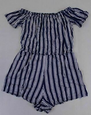 Boohoo Women's Petite Short Sleeve Off the Shoulder Playsuit SI4 Blue Size US:6