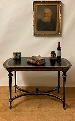 Antique Victorian Ebonised Centre Or Side Table Small Writing Desk ..