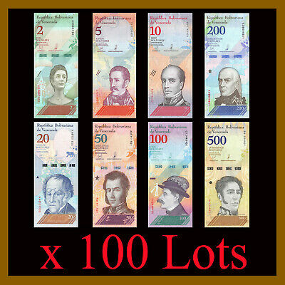 Venezuela 2-500 Bolivares Soberanos (8 Pcs Set) x 100 Lots Bundle, 2018 New Unc