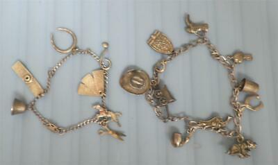 Antique 1890's -1920s ? Sterling Silver Western 2 Two Charm Bracelets Old West