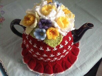 HAND KNITTED TEA COSY - Spring Flowers