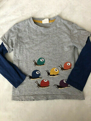 Mini Boden Boy's Tee Shirt Long Sleeved Layered Top Snails Pool Balls Numbers
