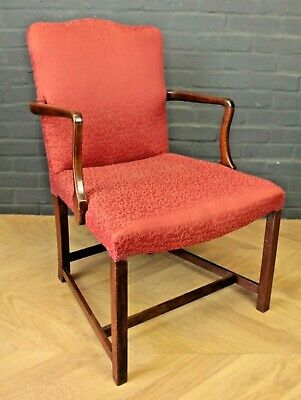Antique Georgian George III Mahogany & Red Upholstered Elbow Chair Armchair