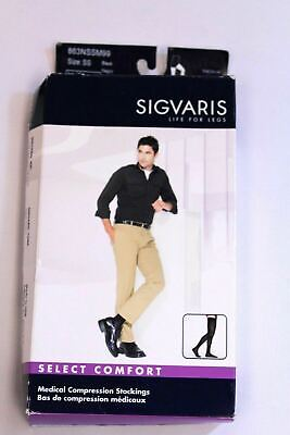 Sigvaris Men's Select Comfort Medical Compression Stockings TW4 Black Size SS