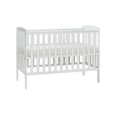 Adjustable Baby Cot Bed Nursery Room Toddler Crib Furniture White Pine Wood New