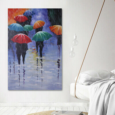 Modern Abstract Oil Painting On Canvas Stretched Hand Draw House Decor Rainy