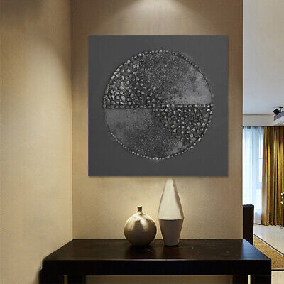 Hand Painted Abstract Oil Painting Wall Art Home Decor Pebble Circle With Frame