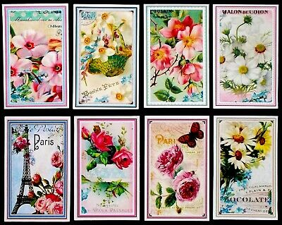 Elegant Flowers Shabby Chic Paris Inspired Card Toppers X 8 Mum Sister Get Well