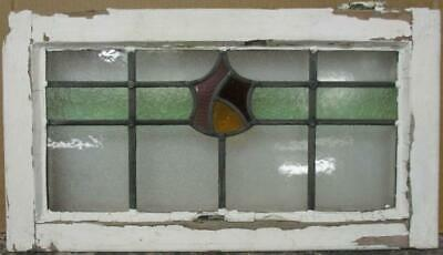 "MIDSIZE OLD ENGLISH LEADED STAINED GLASS WINDOW Pretty Band Design 23.5"" x 13"""